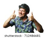 funny retro man with mustache... | Shutterstock . vector #712486681