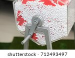 raffle drum wheel with red... | Shutterstock . vector #712493497