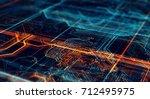 abstract technological... | Shutterstock . vector #712495975