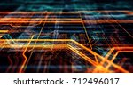 abstract technological... | Shutterstock . vector #712496017