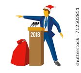 new year 2018 concept   speaker ... | Shutterstock .eps vector #712502851