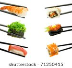 sushi with chopsticks isolated... | Shutterstock . vector #71250415