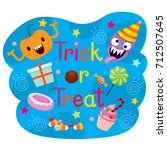decoration of trick or treat... | Shutterstock .eps vector #712507645
