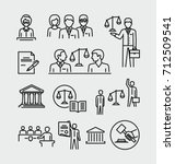 law firm vector icons set  | Shutterstock .eps vector #712509541