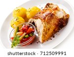 grilled chicken fillet and... | Shutterstock . vector #712509991