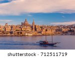Valletta Skyline With Ship At...