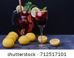 refreshing sangria or punch... | Shutterstock . vector #712517101