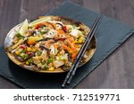 fried rice with tofu ... | Shutterstock . vector #712519771