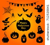 set of halloween stickers | Shutterstock .eps vector #712520041