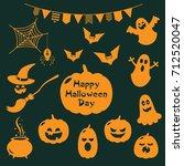 set of halloween stickers | Shutterstock .eps vector #712520047