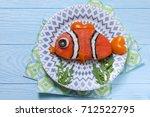 funny salmon sandwich for kids... | Shutterstock . vector #712522795