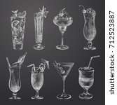 hand drawn cocktail sketches... | Shutterstock .eps vector #712523887