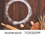 baking chocolate cake in rural...   Shutterstock . vector #712526299