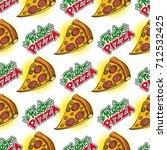 slice of pizza seamless pattern.... | Shutterstock .eps vector #712532425