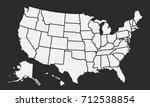 usa map isolated on a black... | Shutterstock .eps vector #712538854