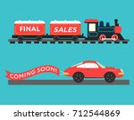 retro styled car and train with ... | Shutterstock .eps vector #712544869