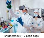 science technician in virtual... | Shutterstock . vector #712555351