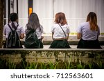 group of female students... | Shutterstock . vector #712563601