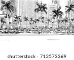 usa. florida. miami. unusual... | Shutterstock .eps vector #712573369