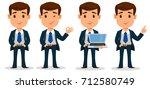 set of business man cartoon... | Shutterstock .eps vector #712580749