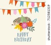 cute vintage birthday greeting... | Shutterstock .eps vector #712581319
