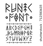runic hand drawn font. ink... | Shutterstock . vector #712583635