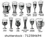 beer glass and mugs types.... | Shutterstock .eps vector #712584694