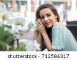beauty smiling happy model with ... | Shutterstock . vector #712586317