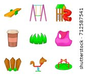 kid playground icon set.... | Shutterstock .eps vector #712587541
