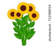 sunflowers. bouquet of yellow... | Shutterstock .eps vector #712588924
