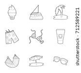 beach accessories icons set....   Shutterstock .eps vector #712589221