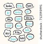 trendy color speech bubbles set ... | Shutterstock .eps vector #712593991