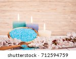 spa candle and salt. cosmetic... | Shutterstock . vector #712594759