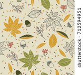 autumn seamless pattern with... | Shutterstock .eps vector #712594951