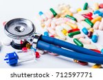 medical  medicine stethoscope... | Shutterstock . vector #712597771