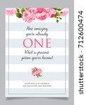 first birthday invitation for... | Shutterstock .eps vector #712600474