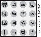 set of 16 editable cinema icons.... | Shutterstock .eps vector #712602265