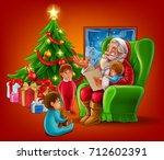 santa claus reading the letter | Shutterstock .eps vector #712602391