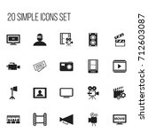 set of 20 editable movie icons. ...