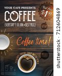 coffee break flyer template.... | Shutterstock .eps vector #712604869