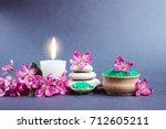 spa salt and stones  towel ... | Shutterstock . vector #712605211