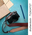 travel accessories set ... | Shutterstock . vector #712614727
