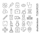 vector set of 16 line icons of... | Shutterstock .eps vector #712619215