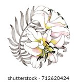 hand drawing lily flowers on... | Shutterstock . vector #712620424