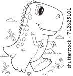 cute t rex dinosaur vector... | Shutterstock .eps vector #712625101