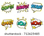 retro comic speech bubbles set... | Shutterstock .eps vector #712625485