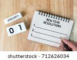 top view notebook and calendar... | Shutterstock . vector #712626034