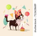 happy smiling cat character... | Shutterstock .eps vector #712628689