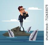 unhappy sad office worker... | Shutterstock .eps vector #712633075