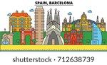 spain  barcelona. city skyline  ... | Shutterstock .eps vector #712638739